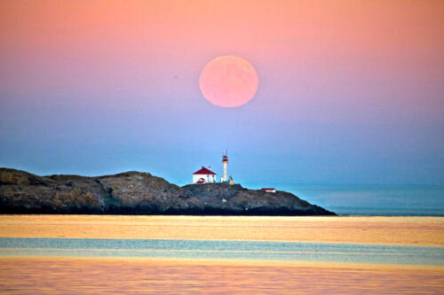 Super Moon over Trial Islands lighthouse