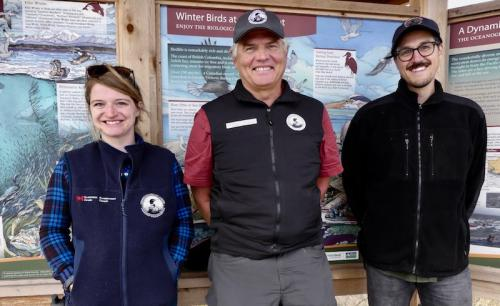 Owain (centre) with new staff, Canadian Wildlife Service